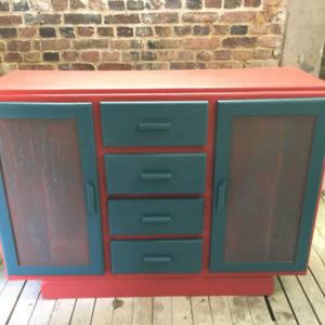 Meuble 4 tiroirs 2 portes peint