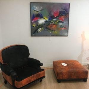 Relooking de fauteuils et pouf