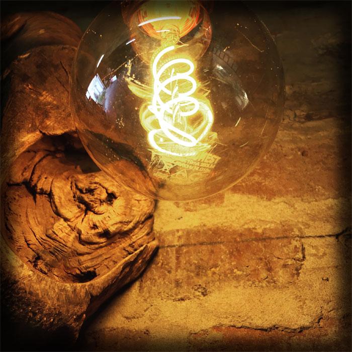 Ampoule bois flotté