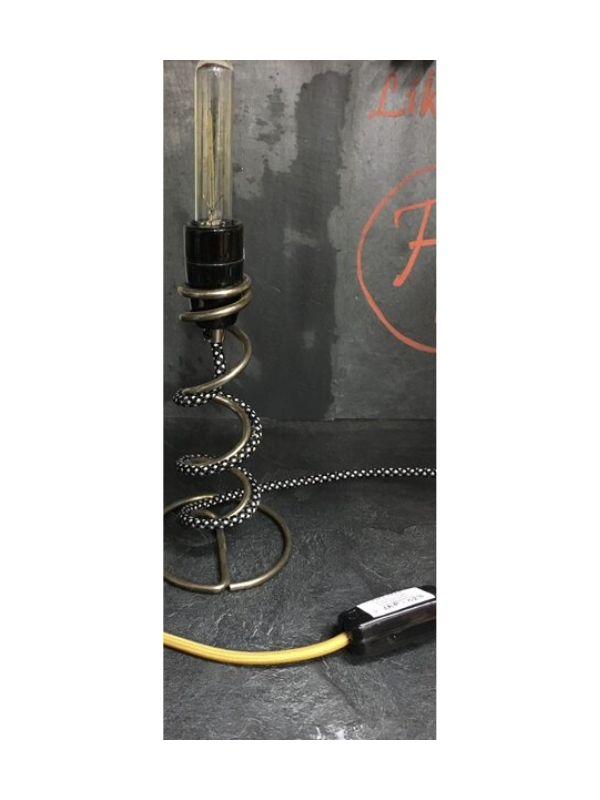 lampe à poser cable textile et douille porcelaine web